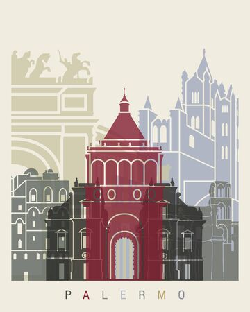 palermo italy: Palermo skyline poster in editable  file