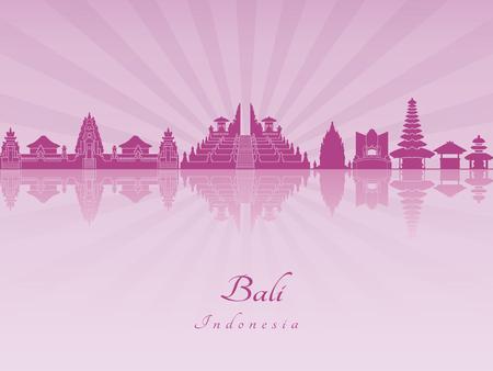 radiant: Bali skyline in purple radiant orchid in editable vector file Illustration