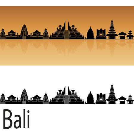 Bali skyline in orange background in editable vector file