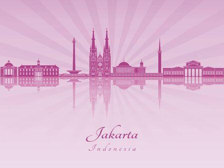 jakarta: Jakarta skyline in purple radiant orchid in editable vector file