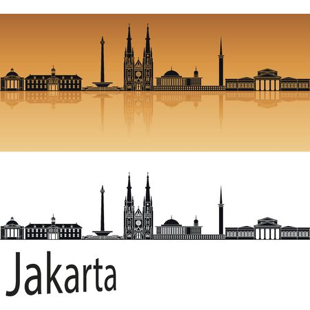 jakarta: Jakarta skyline in orange background in editable vector file Illustration