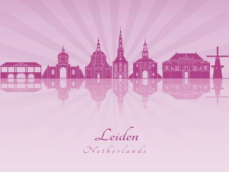 radiant: Leiden skyline in purple radiant orchid in editable vector file