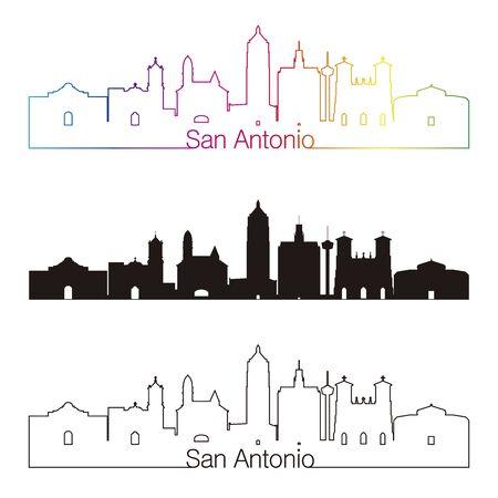 san: San Antonio skyline linear style with rainbow in editable vector file