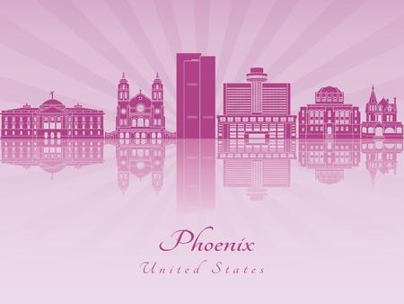 Phoenix skyline en violet orchidée rayonnante dans le fichier vectoriel éditable Banque d'images - 61037772