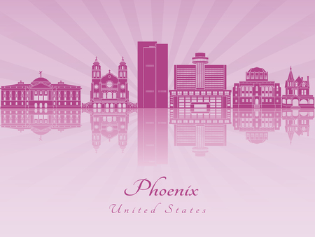 Phoenix skyline in purple radiant orchid in editable vector file