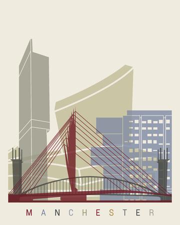 manchester: Manchester skyline poster in editable vector file Illustration