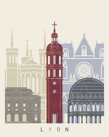 lyon: Lyon skyline poster in editable vector file