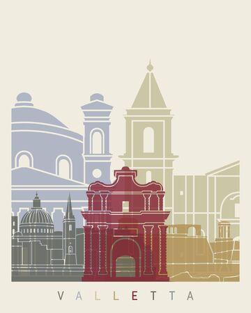 Valletta skyline poster in editable vector file