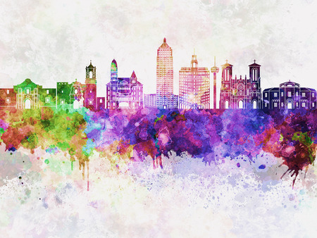 San Antonio skyline in watercolor background 版權商用圖片 - 61044611