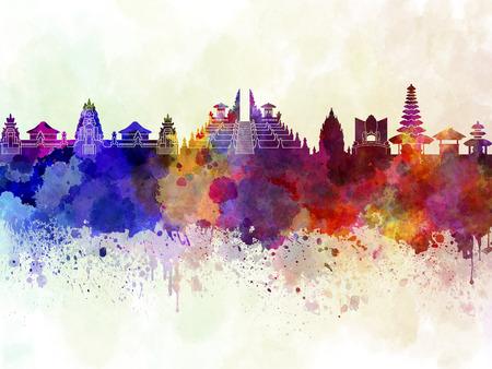 水彩画背景でバリ島スカイライン 写真素材