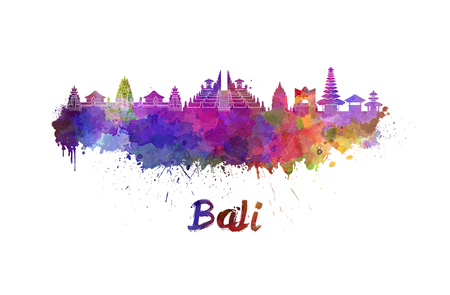 Bali skyline in watercolor splatters with clipping path Standard-Bild