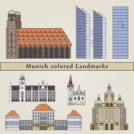 Munich colored Landmarks in editable vector file