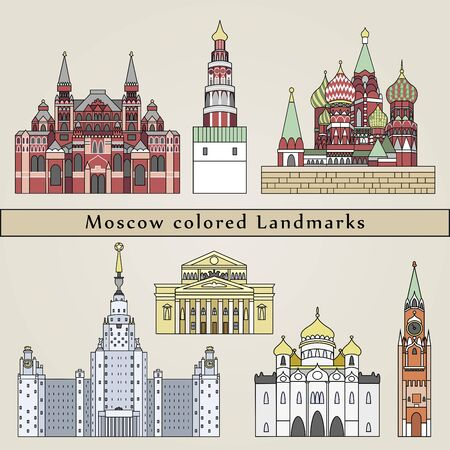 Moscow colored Landmarks in editable vector file
