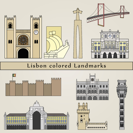 portugal: Landmarks in Lisbon colored editable vector file