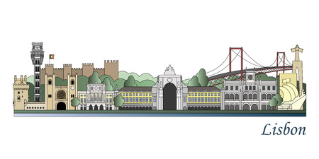 Lisbon skyline colored in editable vector file Фото со стока - 59150695