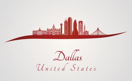 Skyline de Dallas en fond rouge et gris en fichier vectoriel éditable Banque d'images - 59185876