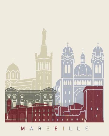 Marseille skyline poster in editable vector file Vector Illustration