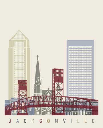 jacksonville: Jacksonville skyline poster in editable vector file