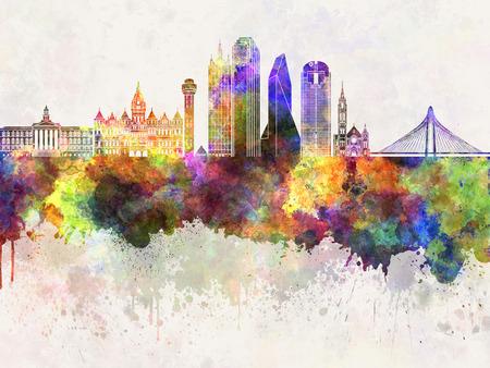 Dallas skyline in aquarel achtergrond