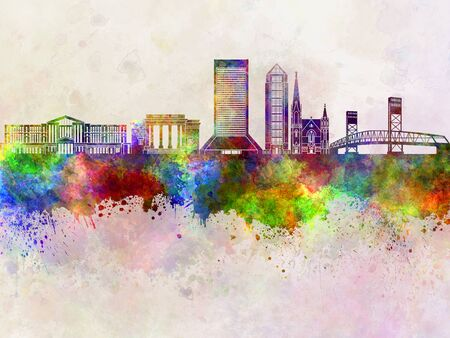 jacksonville: Jacksonville skyline in watercolor background Stock Photo