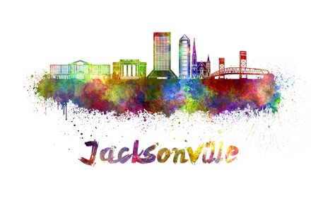 jacksonville: Jacksonville skyline in watercolor splatters with clipping path
