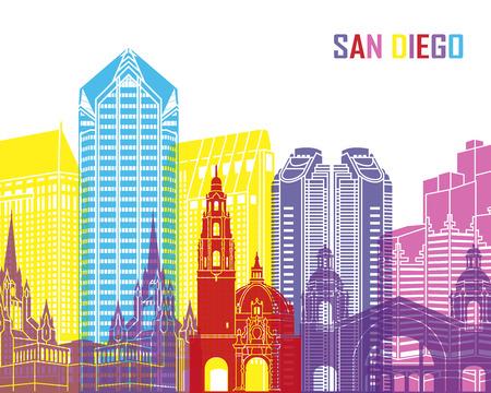 san diego: San Diego skyline pop in editable vector file Illustration