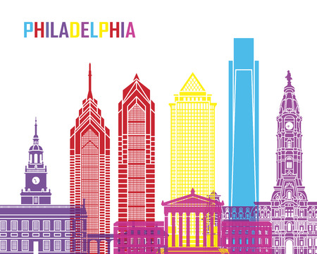Philadelphia skyline pop in editable vector file