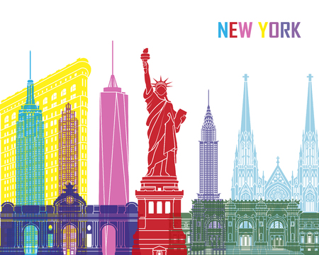 new york skyline: New York skyline pop in editable vector file