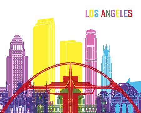Los Angeles skyline pop in editable vector file