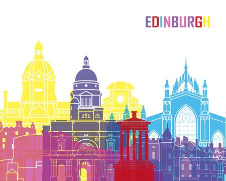 Skyline di Edimburgo pop in file vettoriali modificabili