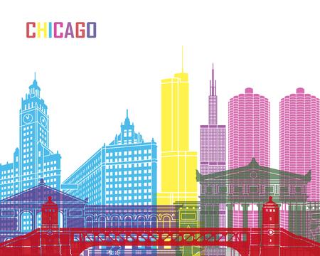 chicago skyline: Chicago skyline pop in editable vector file Illustration