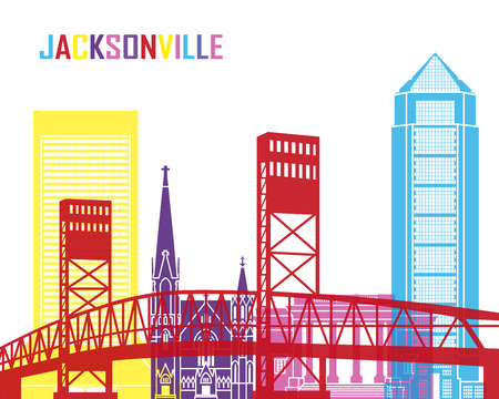 jacksonville: Jacksonville skyline pop in editable vector file Illustration