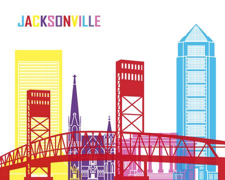Jacksonville skyline pop in editable vector file Illustration
