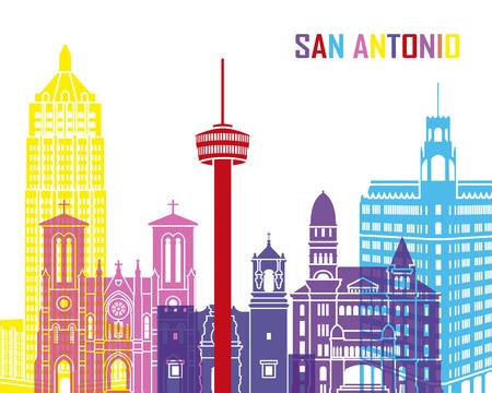 San Antonio skyline pop in editable vector file