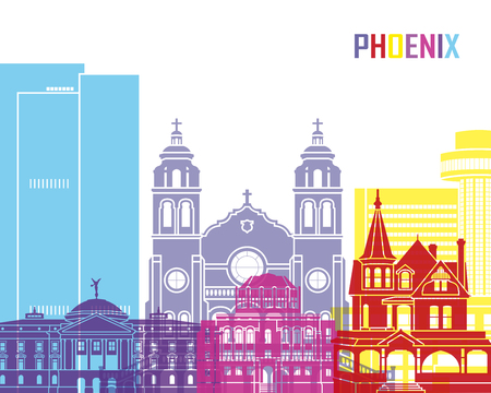 phoenix arizona: Phoenix skyline pop in editable vector file