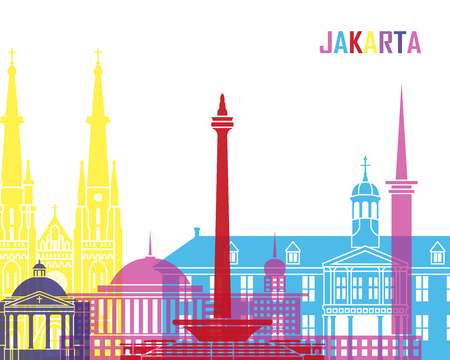 Jakarta skyline pop in editable vector file