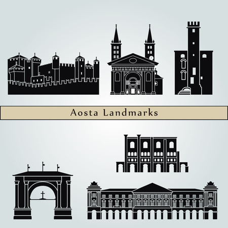 monumento: puntos de referencia de Aosta y monumentos aislados sobre fondo azul en el archivo vectorial editable