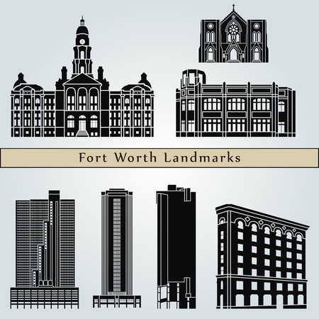 fort: Fort Worth landmarks and monuments isolated on blue background in editable vector file