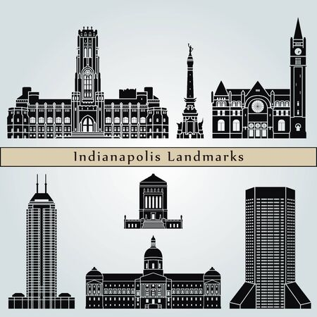 indianapolis: Indianapolis landmarks and monuments isolated on blue background in editable vector file