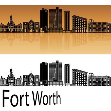 worth: Fort Worth skyline in orange background in editable vector file