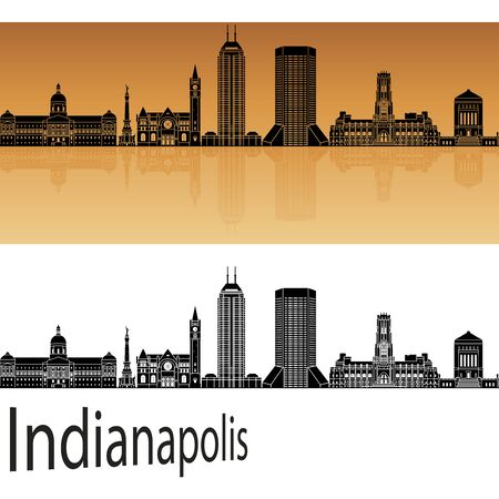 indianapolis: Indianapolis skyline in orange background in editable vector file
