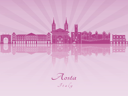 aosta: Aosta skyline in purple radiant orchid in editable vector file Illustration