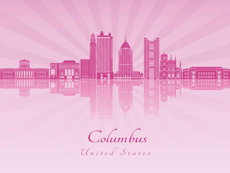 Columbus skyline in purple radiant orchid in editable vector file