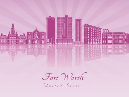 worth: Fort Worth skyline in purple radiant orchid in editable vector file