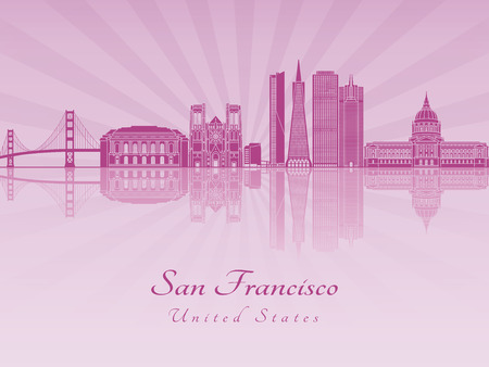 San Francisco skyline in purple radiant orchid in editable vector file