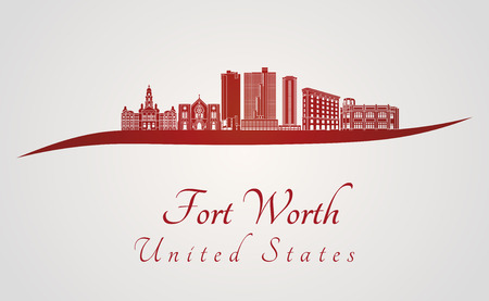 worth: Fort Worth skyline in red and gray background in editable vector file Illustration