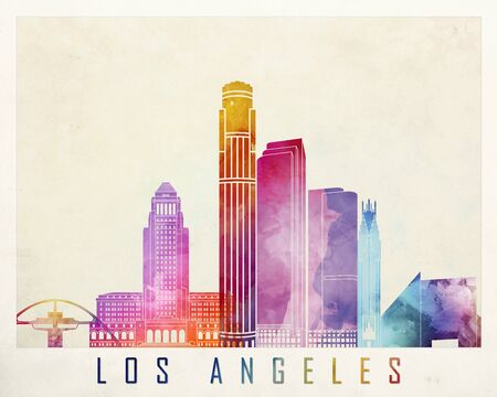 angeles: Los Angeles landmarks watercolor poster Stock Photo