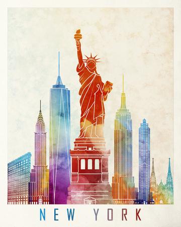 new york: New York landmarks watercolor poster