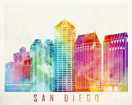 san diego: San Diego landmarks watercolor poster