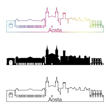skyline city: Aosta skyline linear style with rainbow in editable vector file
